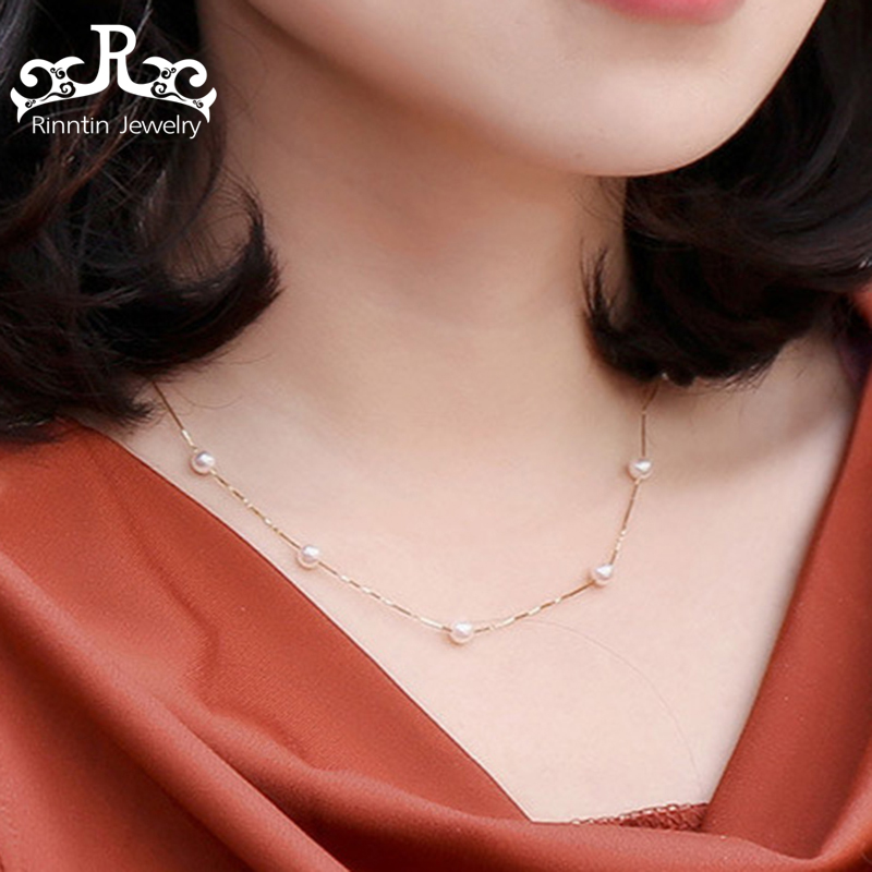 Rinntin 100% Real 925 Sterling Silver Necklace & Pendant For Women Pearl Silver Color Gold Color Female Party Fine Jewelry PSN24Rinntin 100% Real 925 Sterling Silver Necklace & Pendant For Women Pearl Silver Color Gold Color Female Party Fine Jewelry PSN24