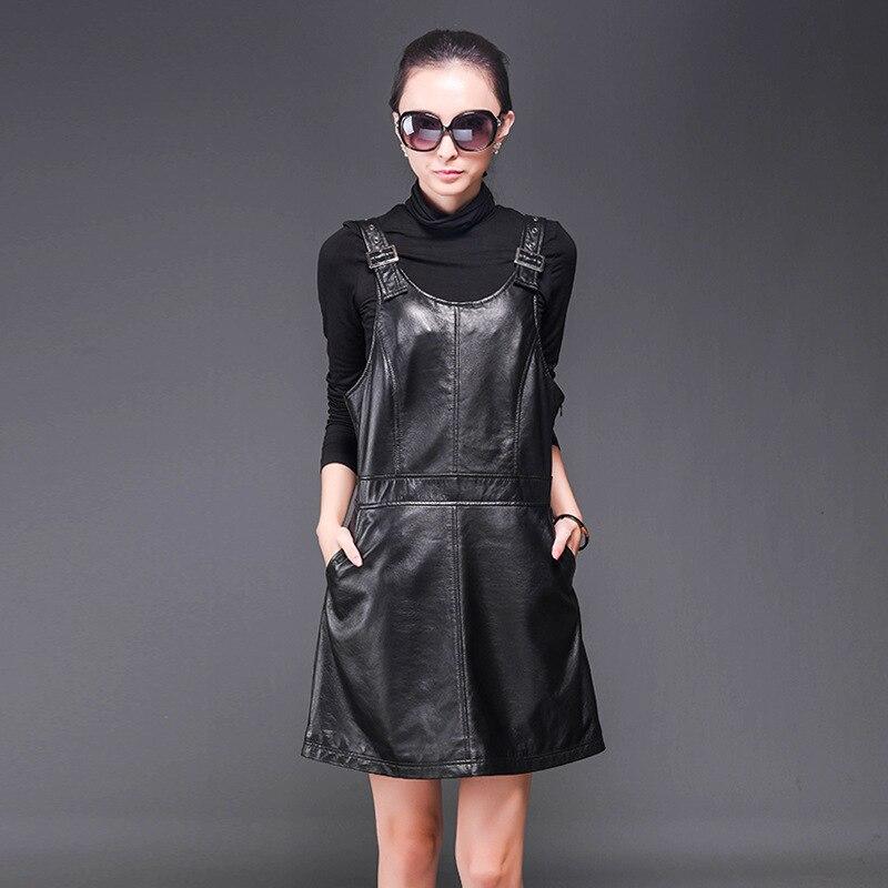 Новинка 2019 года; свободные кожаные платья на бретелях с высокой талией; женские мини платья из натуральной овечьей кожи; тонкое женское плат