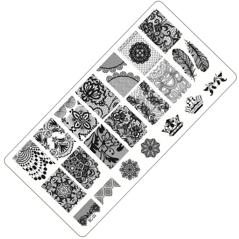 1 Piece Fashion Lace Design Nail Stamping Plates Nail Art Image Stamp Plates Manicure Set Template Nail Tool #BC-03