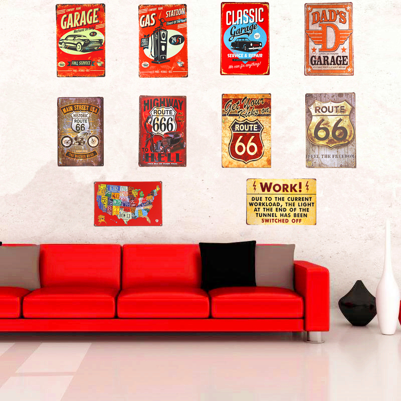 Hot Sale Vintage Metal Tin Signs Garage Car Motor Poster Route 66 ...