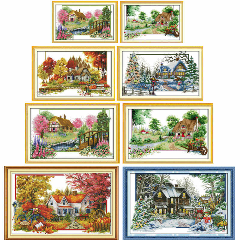 Four Seasons Spring Summer Autumn Winter Home Town House Patterns Counted Cross Stitch DIY Embroidery for Home Decor Needlework