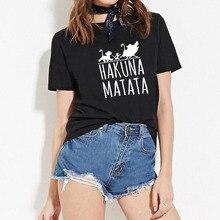 цена на FIXSYS  Female T Shirt Summer Women 2019 Short Sleeve Hakuna Matata Print Cartoon Tshirt Cute Harajuku T-shirts Fashion Tees