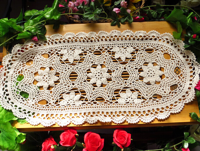 Newest Christmas Gift Vintage Lace Crochet Flower Oval Tablecloths Decoration Mat Coffee Table Cloth 30x70cm Sofa