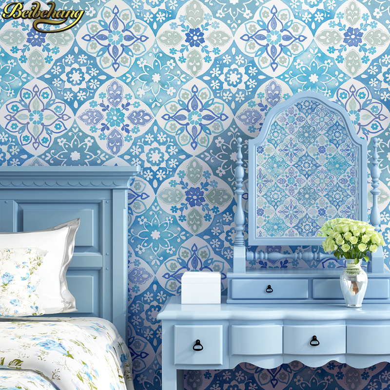 Beibehang Bohemian Ethnic Wallpaper Bedroom Living Room Background Wall Paper Roll Imitation Tile Beauty Salon Southeast Asian