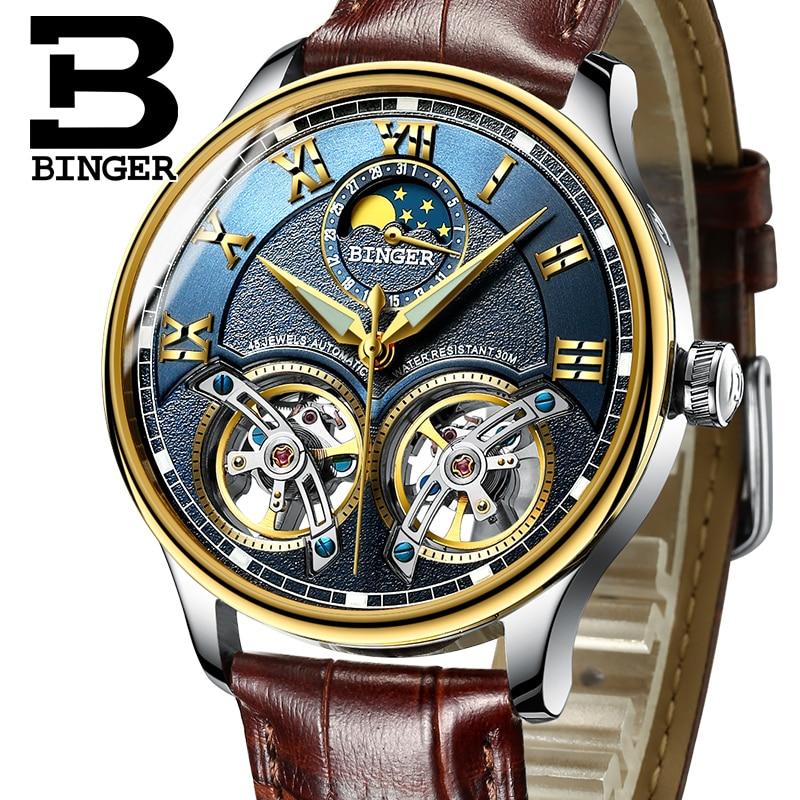 2019 Nieuwe Mechanische Mannen Horloges Binger Rol Luxe Merk Skeleton Wrist Saffier Waterdicht Horloge Mannen Klok Mannelijke reloj hombre-in Mechanische Horloges van Horloges op  Groep 1