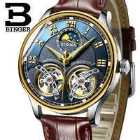 2019 nowe mechaniczne zegarki męskie Binger rola luksusowej marki szkielet Sapphire wodoodporny zegarek na rękę mężczyźni zegar mężczyzna reloj hombre