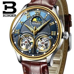 Image 1 - 2020 yeni mekanik erkek saatler Binger rol lüks marka İskelet bilek safir su geçirmez İzle erkekler saat erkek reloj hombre