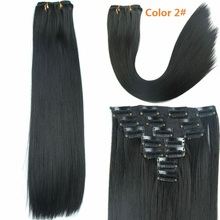 Heat Resistant Synthetic Hair Hairpiece Long Straight Clips On False Hair Products Styling Synthetic Clip In Hair Extensions
