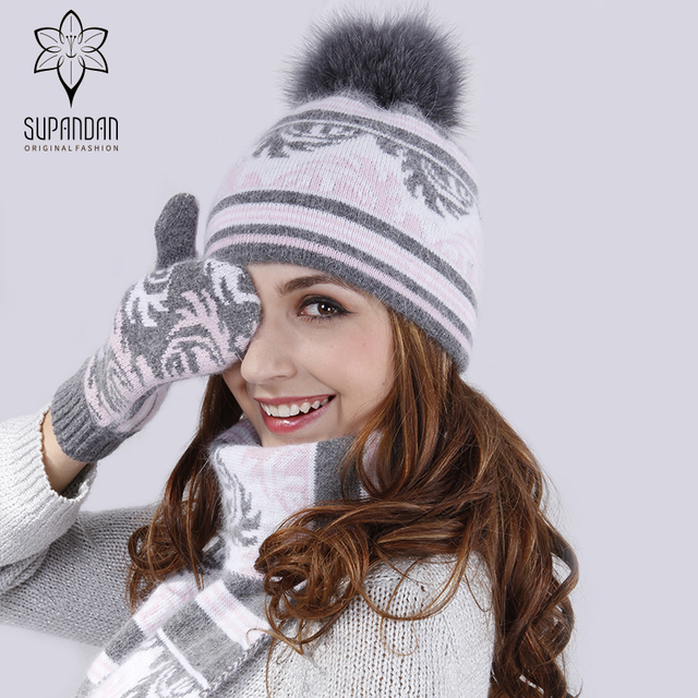 Supandan Fox Fur Pom Poms Wool Winter Hats Leaves Pattern High