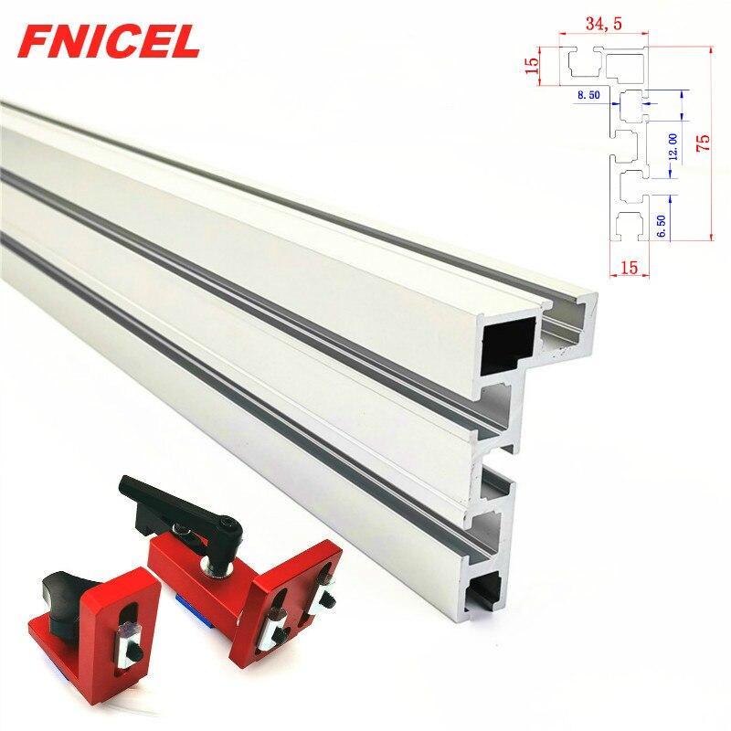 600 millimetri/800 millimetri Profilo In Alluminio Recinzione 75 millimetri di Altezza con T-tracce e Scorrevole Staffe Mitra Calibro recinzione Connettore per la Lavorazione Del Legno