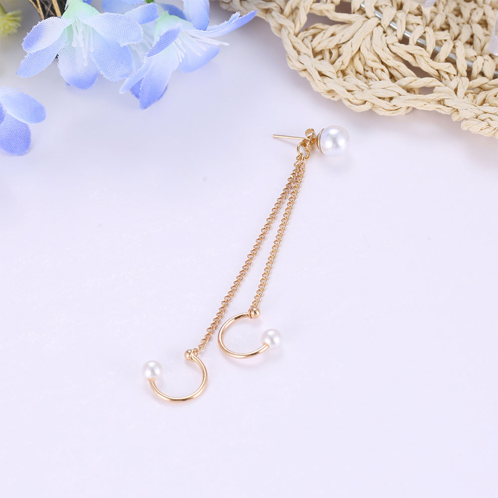 Trendy Pearl Tassel Clip Earrings For Women Simple No Pierced Ear Cuff Chain Earrings Fashion Jewelry Party Gift Wholesale