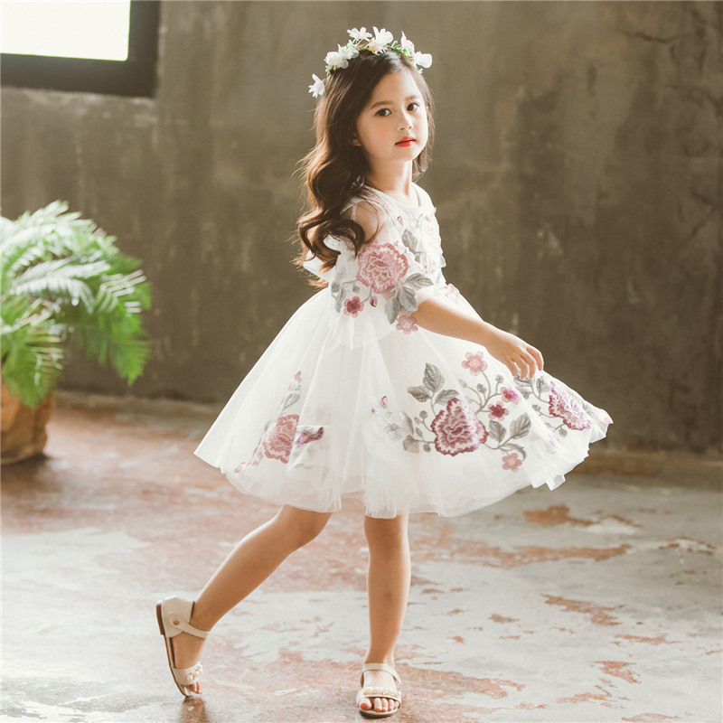 2018 kids dress for summer clothes flower embroidery girls party dress mesh teenagers tutu dress suit 3~9age girl princess dress flounce mesh insert embroidery dress