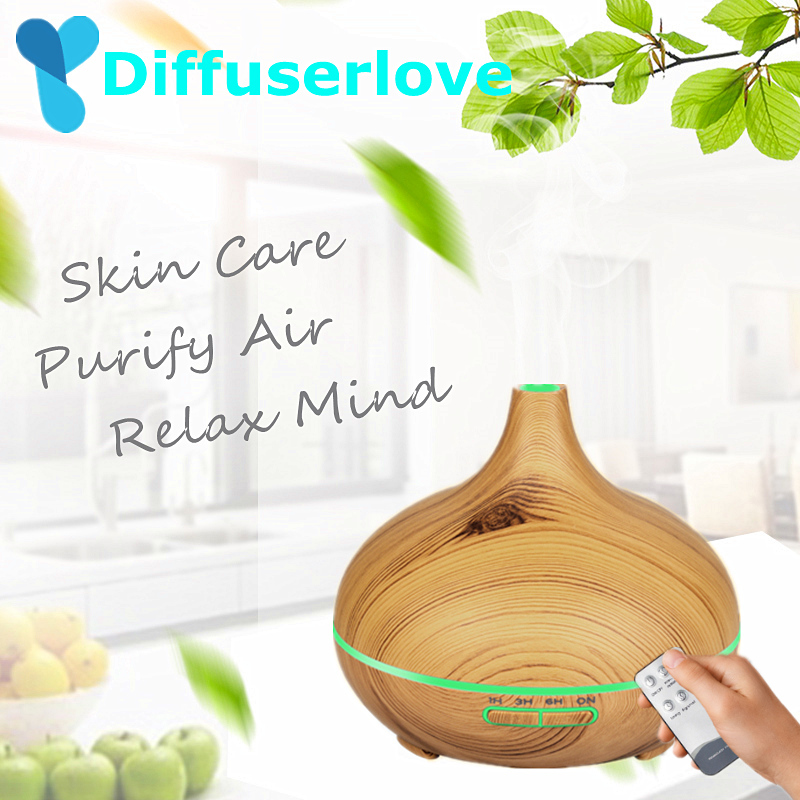 Diffuserlove 300ML Wood Grain Air Humidifier Remote Control Essential Oil Diffuser Electric Diffuser 7 Color Changing LED Light