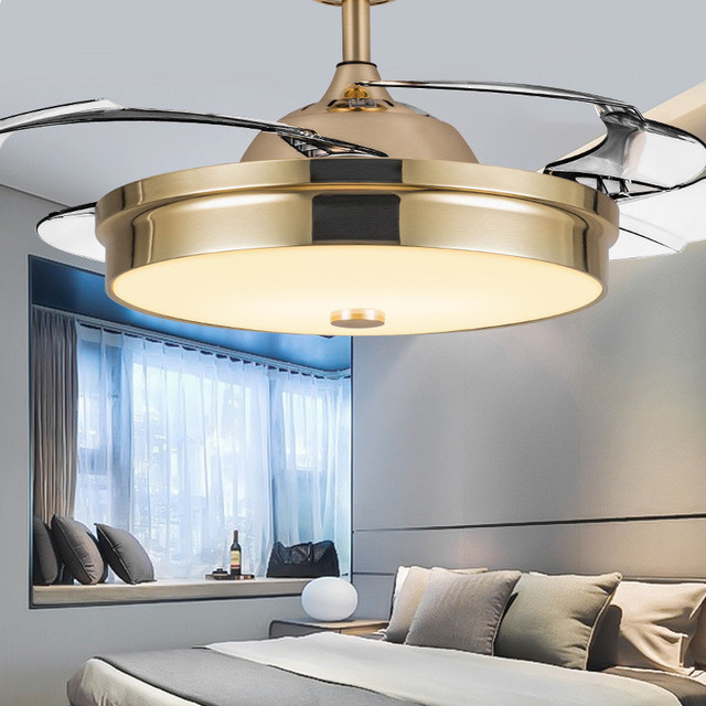 Super Thin Invisible Restaurant Ceiling Fan Living Room Dining Room Bedroom Coffee Shop Dimmable LED Fan Lamp Free Shipping