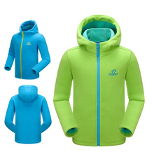 Children Hooded fleece jacket Thickening polar fleece jackets outdoor sports Skiing camping Windproof breathable warm jacket
