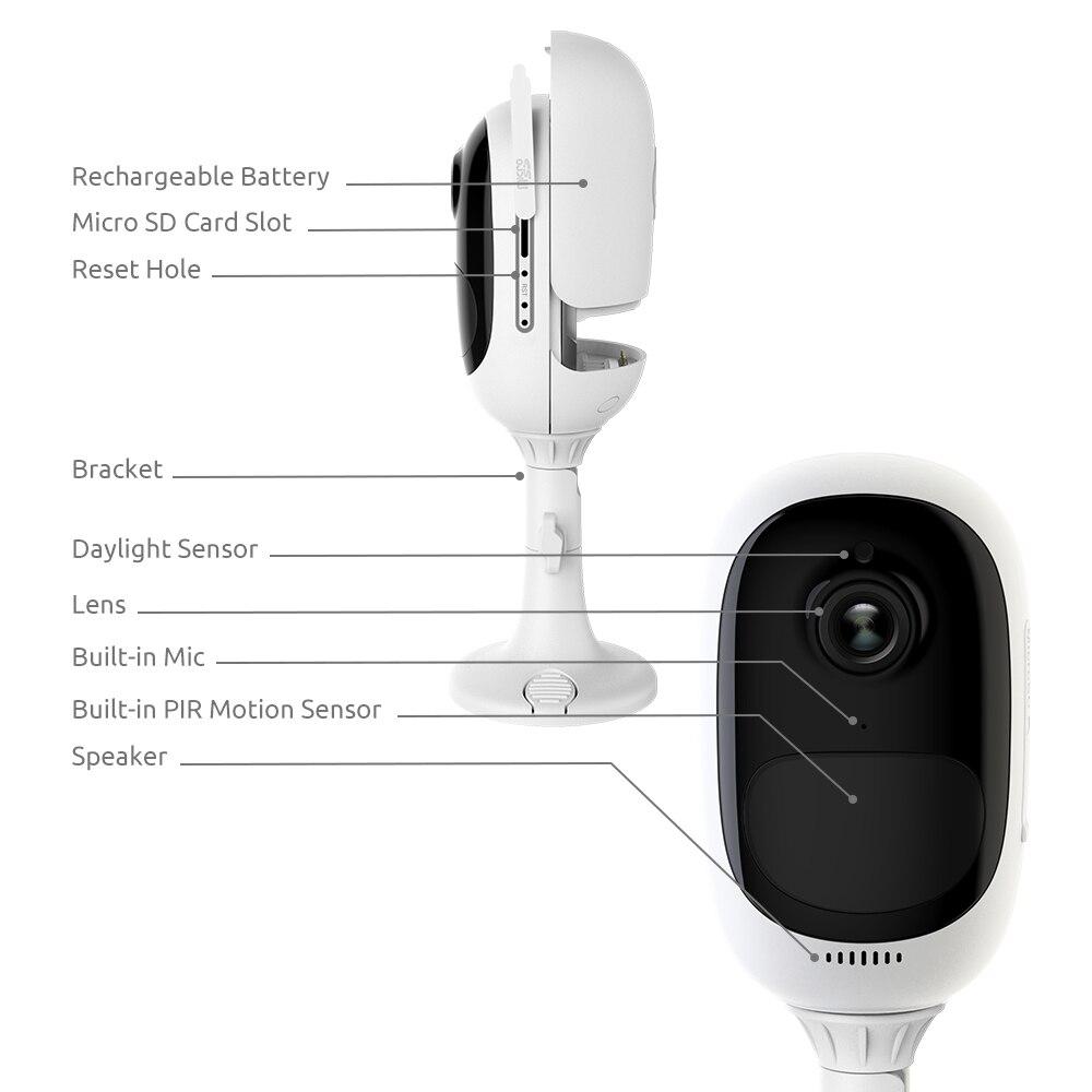 Reolink-caméra de surveillance intérieure/extérieure IP WiFi hd 100% P (Argus Pro), dispositif de sécurité sans fil 1080, étanche, batterie, 2 paquets 2