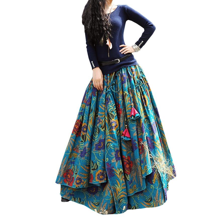 İsti Satış Moda Çap Uzun Kətan Etek Uzun Ruffled - Qadın geyimi - Fotoqrafiya 1