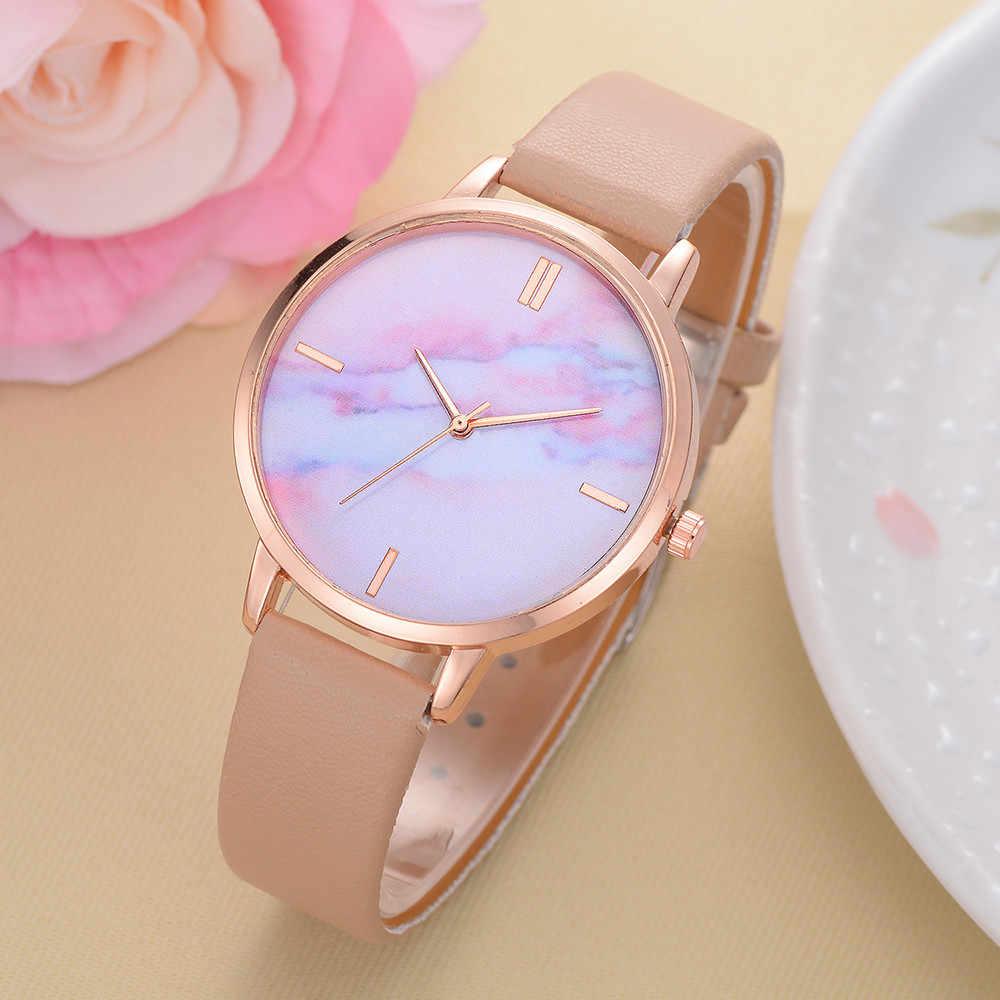 Lvpai מותג נשים שעונים יוקרה עור רצועת שיש חיוג שמלת שעוני יד גבירותיי מתנת קוורץ שעון Relogio feminino 55