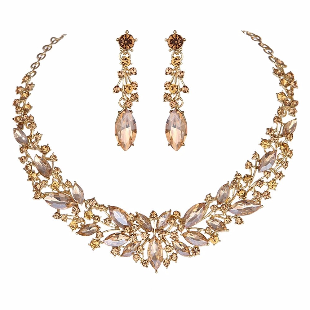 Crystal Wedding Bridal Jewelry Sets Silver Color rose gold color birdesmaid Rhinestone Wedding Jewelry Necklace Sets for Women 5