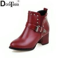 DoraTasia 2017 Large Size 30-48 Buckle Belt Rivets Women Shoes Woman Fashion Square Med Heels Slip On Add Fur Ankle Boots