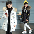 Girls Winter Warm Thick Cotton-Padded Long Jacket Children Hooded Clothing Outerwear Cartoon Girls Warm Coats Clothes YL299