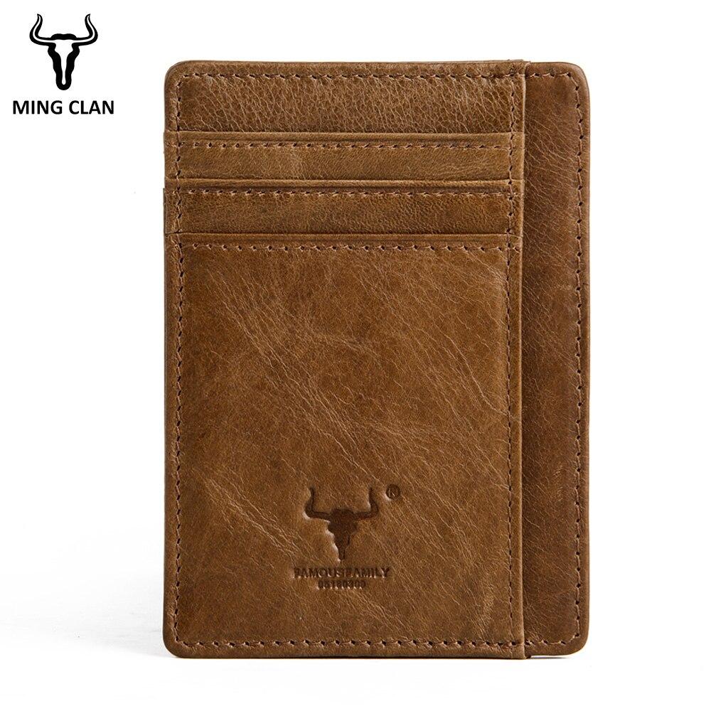 MingClan äkta läder unisex visitkort hållare plånbok bank - Plånböcker - Foto 6