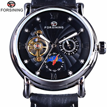 forsining luxury brand men vintage automatic watches male fashion auto date mechanical wristwatches rome dial real leather band Forsining Fashion Toubillion Design Swirl Dial Luminous Luxury Moon Phase Men Watches Top Brand Luxury Automatic Watch Clock Men