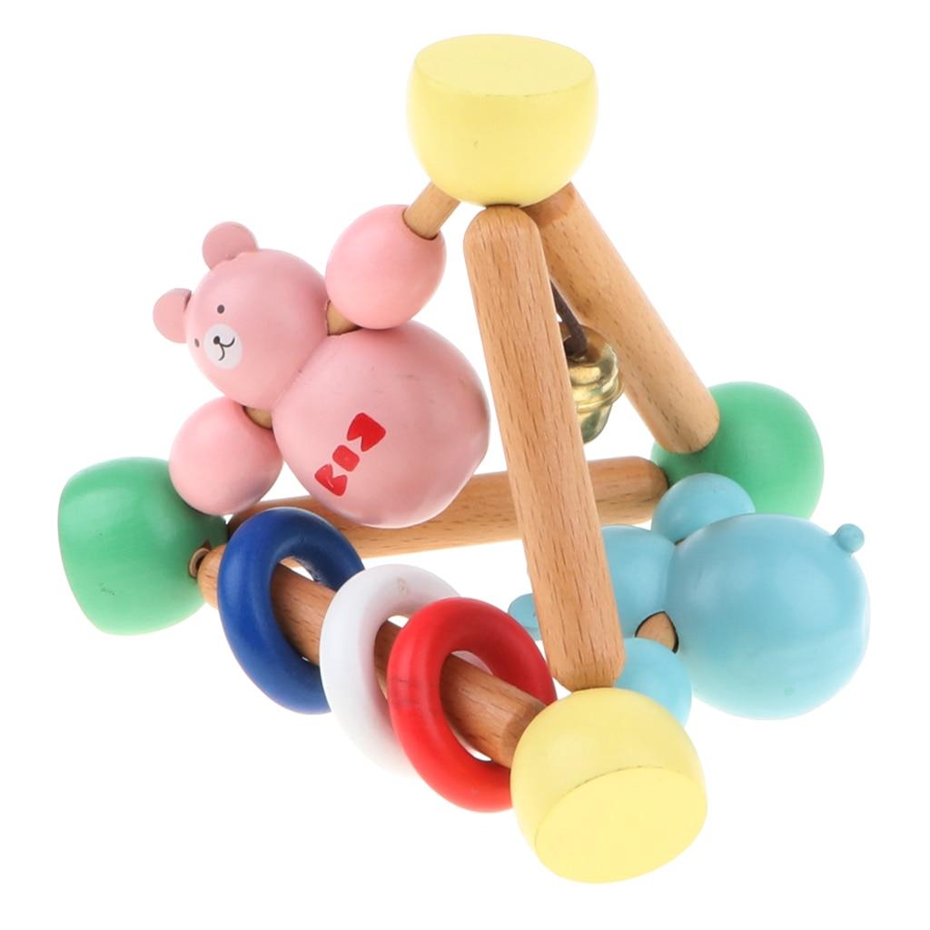 Wooden Montessori Rattle Teether Grasping Sensory Educational Toy Handbell