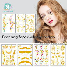 2e03ee353c6d2 Rocooart Gold Face Tattoo Flash Tattoo Fashion Waterproof Blocked Freckles  Make Up Body Art Sticker Eye Decals Bride Tribe Party