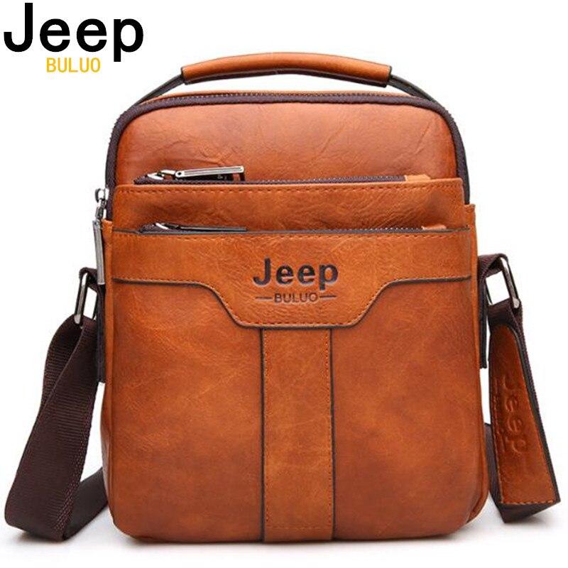 JEEP BULUO de los hombres de la marca de bolsas de mensajero de gran capacidad bolso para hombre divisor de cuero, bolso de hombro, Crossbody marrón Casual de negocios