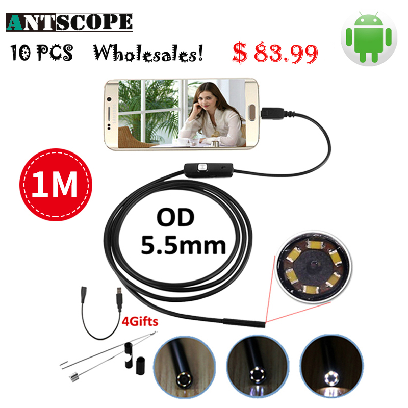 Wholesale 10pcs 5.5mm Android Endoscope Camera 1M Waterproof Snake Pipe Inspection OTG Android Phone USB Borescope Camera 7mm lens mini usb android endoscope camera waterproof snake tube 2m inspection micro usb borescope android phone endoskop camera