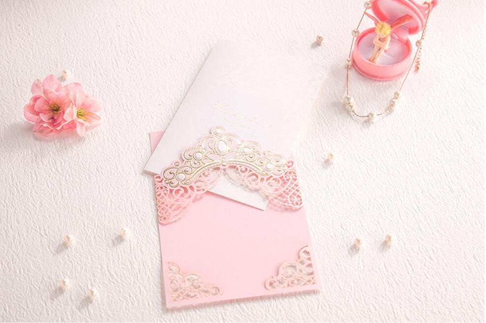 Rosa Krone Hochzeit Einladungskarten, Ehe Einladungen Card Gruß Kits  Druckbare, 100 Sets Express Kostenloser Versand In Rosa Krone Hochzeit  Einladungskarten ...