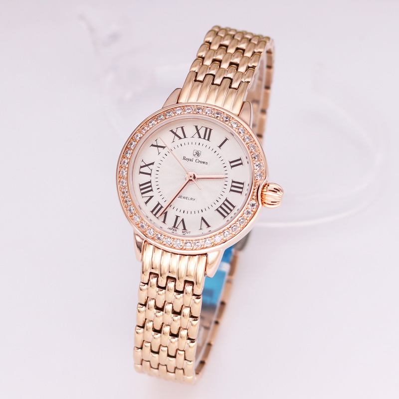 Luxury Jewelry Lady Women's Watch Fine Fashion Hours Stainless Steel Bracelet Rhinestone Gold Plated Girl Gift Royal Crown Box multilayered gold plated textured rhinestone strand bracelet