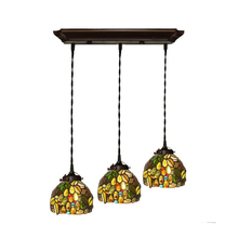 Scandinavian Luxury Stained Glass Rustic Three LED Kitchen Cafe Bar Dining Room Restaurant Chandelier Lighting E27 Edison Bulb