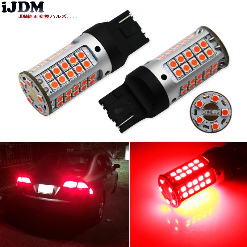 цена на iJDM 7440 LED No Hyper Flash 21W High Power Red T20 W21W LED Bulbs For Car Turn Signal Lights, Tail Lights, Brake Lights,CANBUS