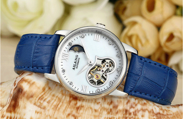 AILANG Automatic Mechanical Watches Women Waterproof Moon Phase Pattern Genuine Leather Clock Female Orologio Da Donna A030 free shipping time100 top brand sun moon phase taichi pattern genuine leather strap skeleton automatic mechanical watches clock