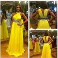 Don nupcial nueva gasa amarillo baile vestidos largos de 2016 fuera del hombro que rebordea de noche dress custom robe de soirée
