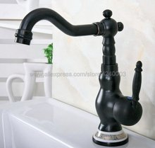 Basin Faucet Black Brass Bathroom Sink Faucet Single Handle Swivel Spout Kitchen Deck Vessel Mixer Tap Knf659 все цены