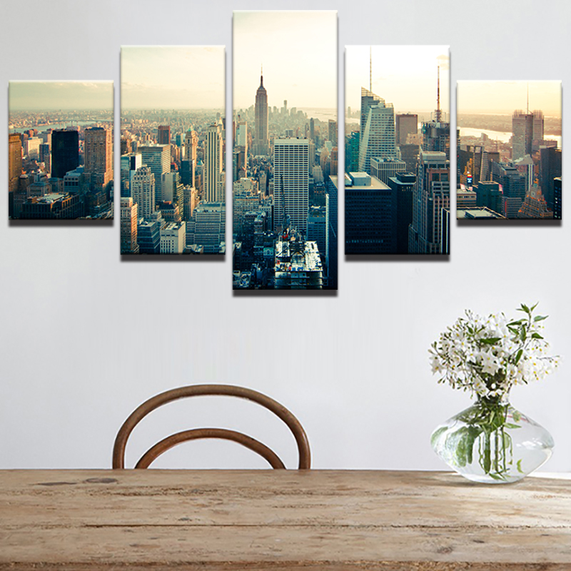 Canvas Art Poster Style Wall Abstract Pictures 5 Panels New York ...