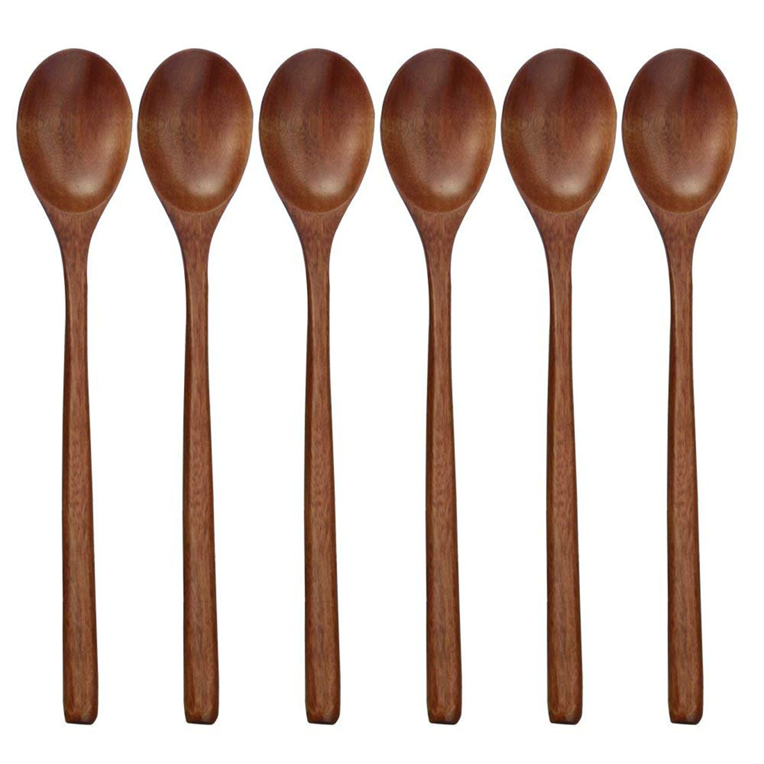 Wooden Spoons, 6 Pieces Wood Soup Spoons for Eating Mixing ...