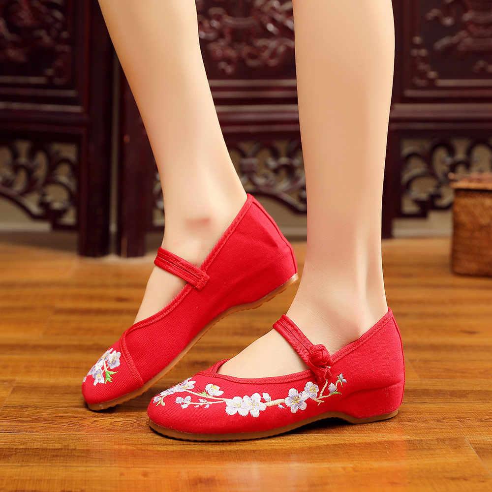 Veowalk çin çiçek işlemeli kadın tuval Mary Janes daireler el yapımı bayanlar konfor yürüyüş ayakkabısı yumuşak ayakkabı yaşlılar için