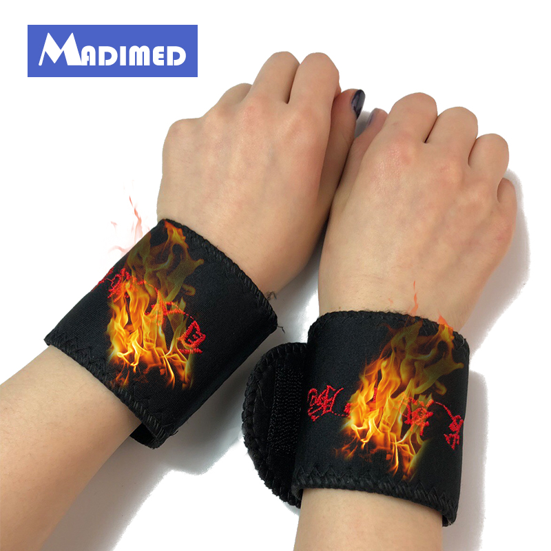 MADIMED Magnetic Tourmaline Heating Wrist Support Brace Joint Protection Tourmaline Heating Therapy Remedy Wrist Support Wrap