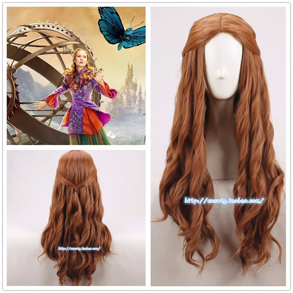 Alice in Wonderland 2 Alice Brown Wig Curly Long BW Hair with Net Role Play Halloween