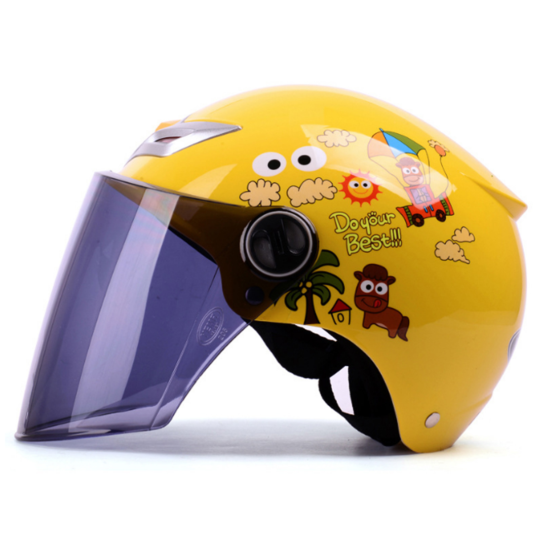 iguardor Head Protection Helmet Children Electrombile Safety Helmet with Face Guard - Lemon Yellow Holiday Horse Pattern Lens