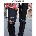 Мужские джинсы с дырками  облегающие черные джинсы в стиле хип-хоп  с вышивкой