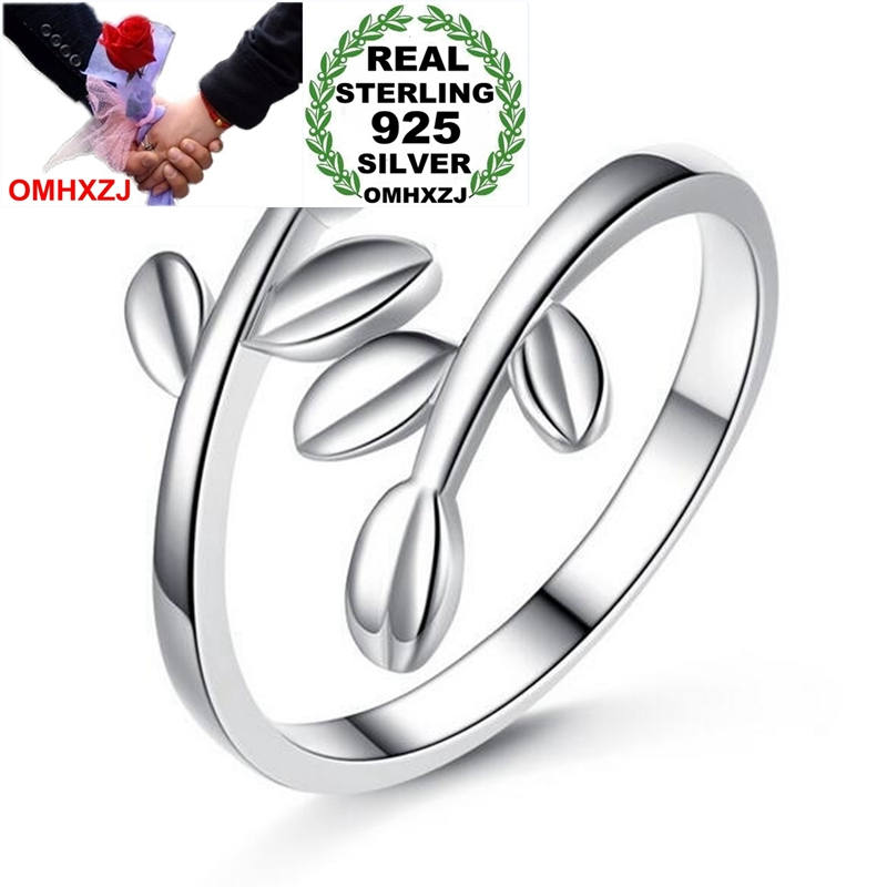 OMHXZJ Wholesale Simple Fashion Sweet Vintage Olive Branch OL Gift 925 Sterling Silver Female For Woman Girl Resizable Ring RG40