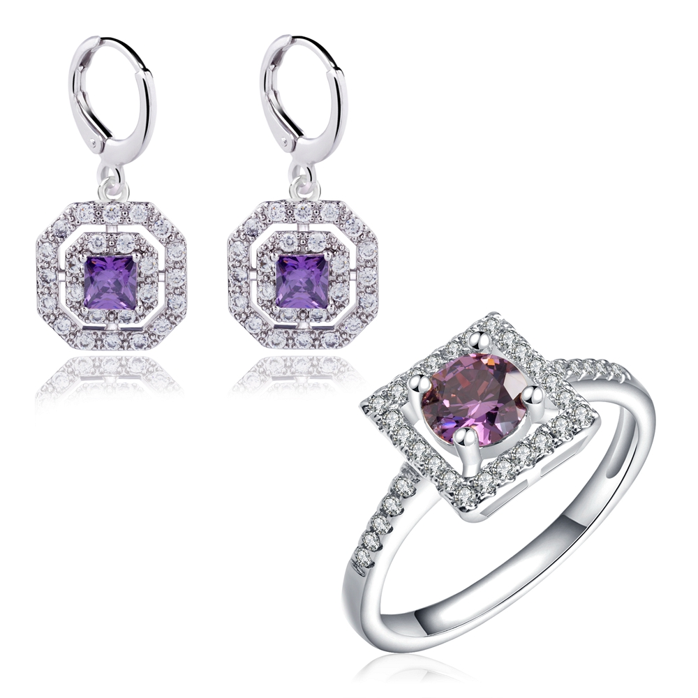 Yunkingdom fashionable Women's Jewelry Sets jewellery zircon Crystal Earrings White Gold Color Wedding Rings LPG17