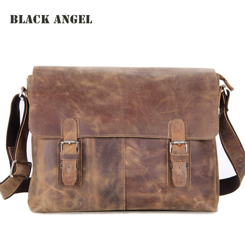 BLACK ANGEL Vintage men bag crazy horse leather cross body men shoulder messenger bags 14 inch laptop bag High Quality angel horse cross body messenger bag vintage single chain woman shoulder bag fashion wild women handbags for party daily life