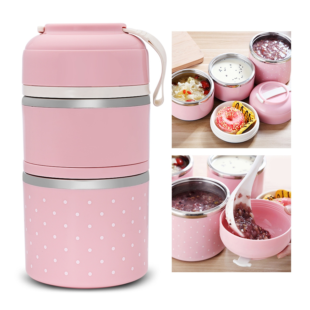 1 3 layers stainless steel lunch box thermos for kid for Decor 6 piece lunchbox