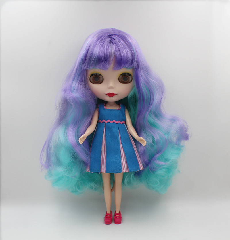 Blygirl,Blyth doll,Purple light green wavy bangs, frosted surface, normal body, 7 joints, 1/6 dolls, 30cm, can be replacedBlygirl,Blyth doll,Purple light green wavy bangs, frosted surface, normal body, 7 joints, 1/6 dolls, 30cm, can be replaced